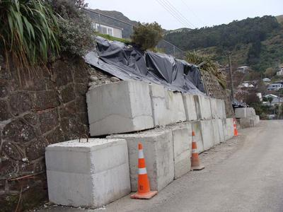 Digital Photograph: Temporary Repairs to Retaining Wall in Ripon Street, Lyttelton
