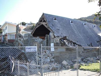 Digital Photograph:  Earthquake damage to  St John's Church, Winchester Street, Lyttelton