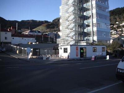 Digital Photograph:  Temporary Premises of Lyttelton Bakery, corner of Norwich Quay and Canterbury Street, Lyttelton