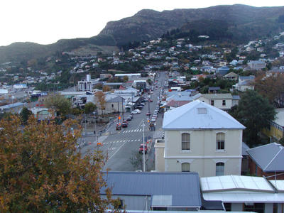 Digital Photograph: Elevated view of London Street, Lyttelton