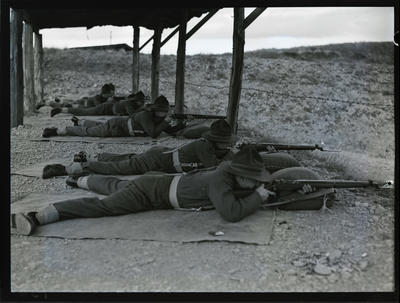 Film negative: Prone position on the rifle range