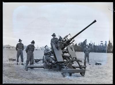 Film negative: Anti aircraft gun and gun crew