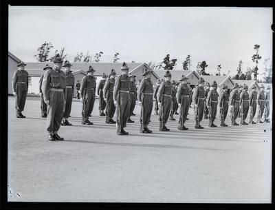 Film negative: Burnham, soldiers on parade