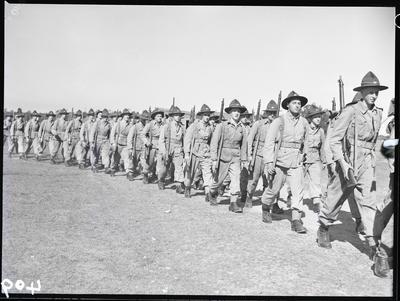 Film negative: Burnham, soldiers marching