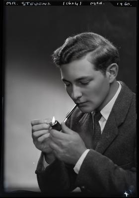 Film negative: Mr Stevens, with pipe