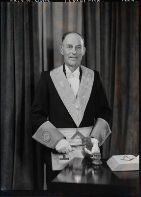 Film negative: Mr S R Watts, in lodge regalia