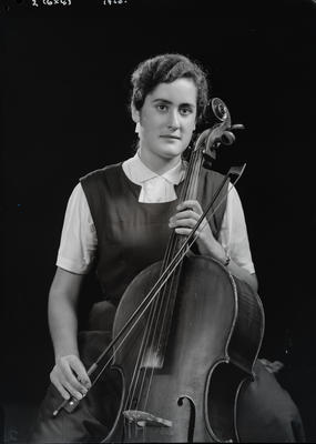 Film negative: Miss Wilson with cello