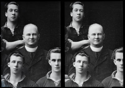 Film negative: Father Kerly, group of four, twin negative
