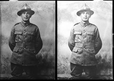 Film negative: Unidentified soldier, twin negative