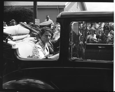 Film negative: Royal Tour, open car leaves Burnham