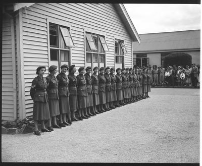 Film negative: Royal Tour, female troops in line