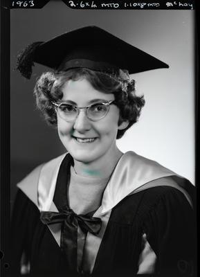 Film negative: Miss McLay, graduate; 1963; 1992.96.4941
