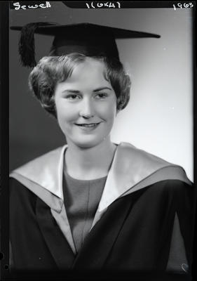 Film negative: Miss Sewell, graduate