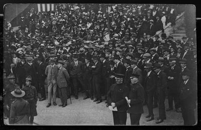 Film negative: Mr Jarman, large gathering