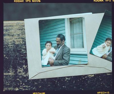 Film negative: Mrs Hillman, man and baby