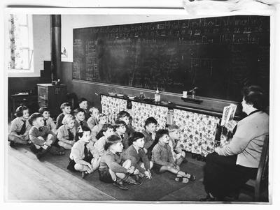 Film negative: Victory School, class in session