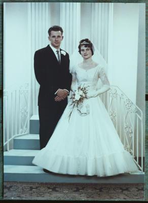 Film negative: Mr Munro, bride and groom