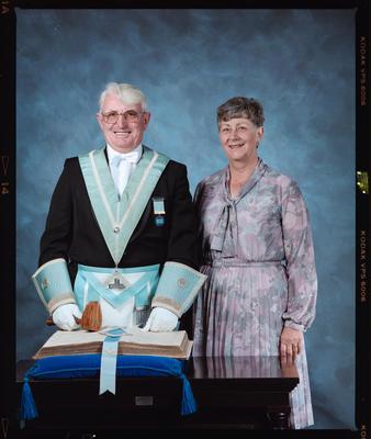 Negative: Mr Banks Freemason and Woman Portrait