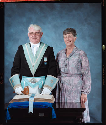 Negative: Mr Jones Freemason and Woman Portrait