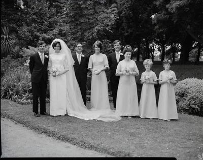 Film negative: Prosser and Stewart wedding, party of eight