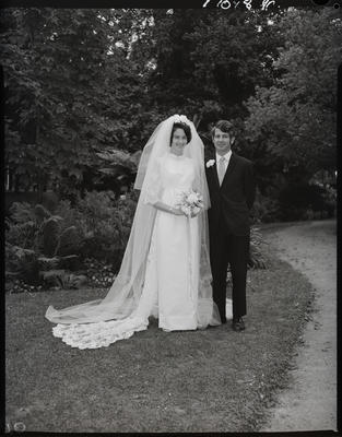 Film negative: Prosser and Stewart wedding, bride and groom