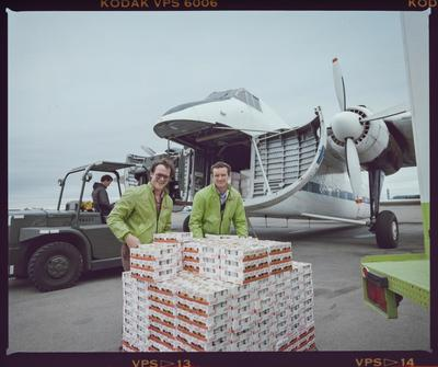 Negative: Two Men With Pallet Of Yoplait