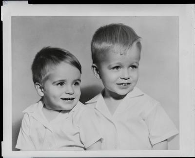 Film negative: Mrs Cotton, two boys
