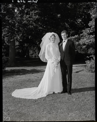 Film negative: Caldwell and Dodds wedding, bride and groom