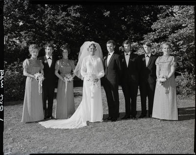 Film negative: Caldwell and Dodds wedding, party of eight