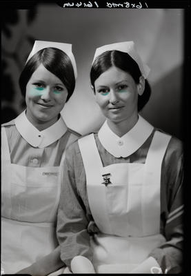 Film negative: Miss Crawford, two nurses