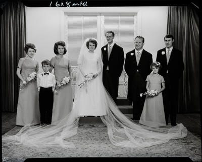 Film negative: Binnie and Graham wedding, party of eight