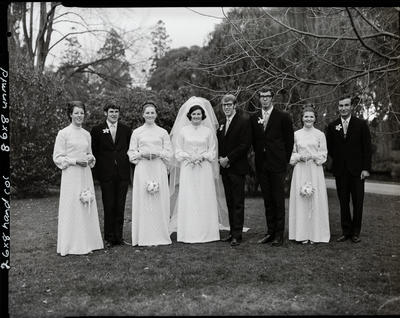 Film negative: Robinson and Wilson wedding, party of eight