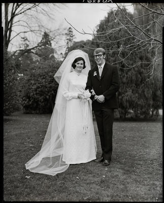 Film negative: Robinson and Wilson wedding, bride and groom