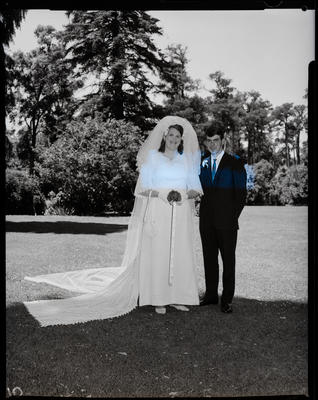 Film negative: Stevenson and Currie wedding, bride and groom