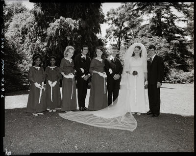 Film negative: Stevenson and Currie wedding, party of eight
