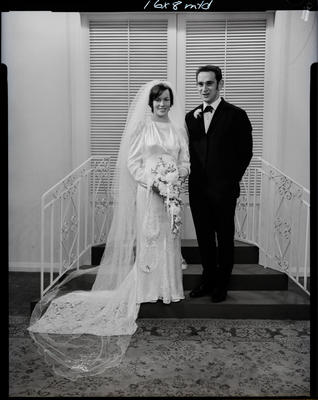 Film negative: Stewart and McGlinnchey wedding, bride and groom