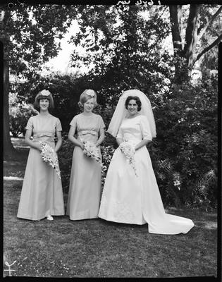 Film negative: Smith and Adams wedding, bride and two attendants