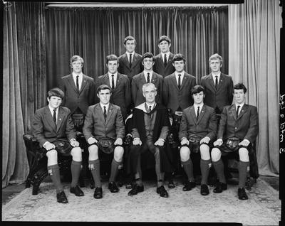 Film negative: St Andrews College, eleven prefects with rector