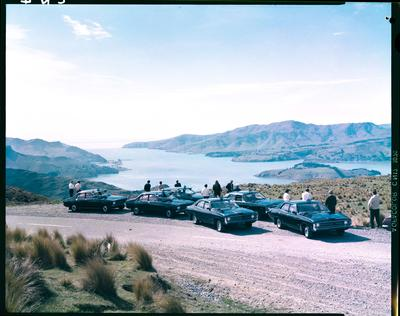 Film negative: Blue Star Taxis, Summit Road parking
