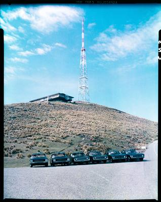 Film negative: Blue Star Taxis, Sugarloaf car park