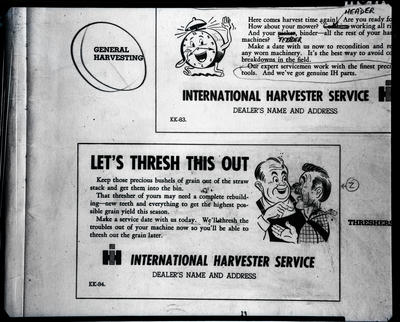 Film negative: International Harvester Company: copies of lettering boxes
