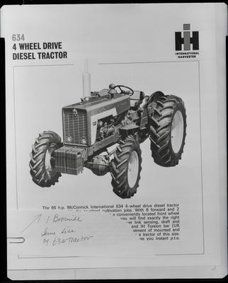 Film negative: International Harvester Company: copy of 4 Wheel Drive tractor
