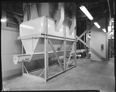Film negative: Flemings Flour Mill, feed hoppers and conveyors