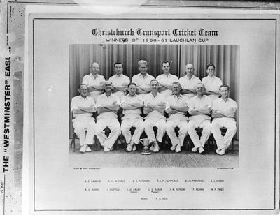 Film negative: Canterbury Trasport Cricket Team, 1960-1961