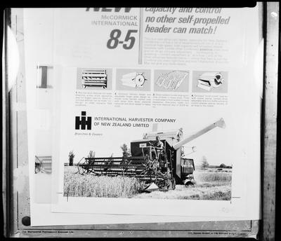 Film negative: International Harvester Company: header features, copies of line drawings