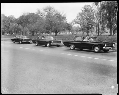 Film negative: Blue Star Taxis, three cars in Park Terrace