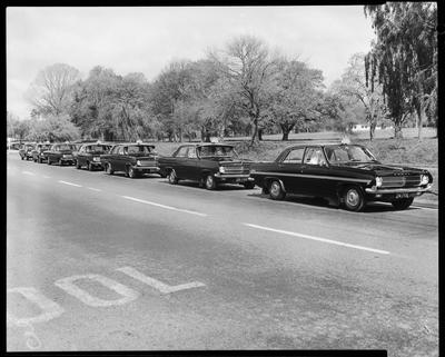 Film negative: Blue Star Taxis, seven cars in Park Terrace