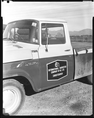 Film negative: International Harvester Company: signs on truck doors
