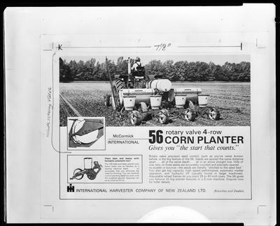 Film negative: International Harvester Company: 56 four row corn planter