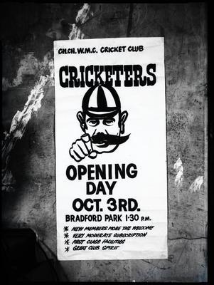 Film negative: Christchurch Working Men's Club, cricket club poster box